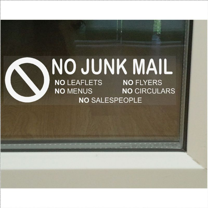 1 x No Junk Mail-WHITE on CLEAR-Window Warning House Sticker-Vinyl Door Letters Notice Sign